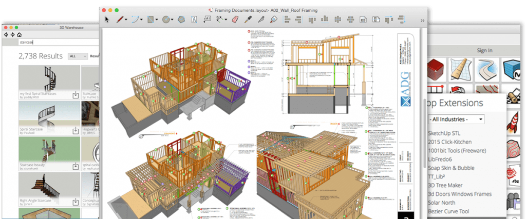 Sketchup 3D design software Interface
