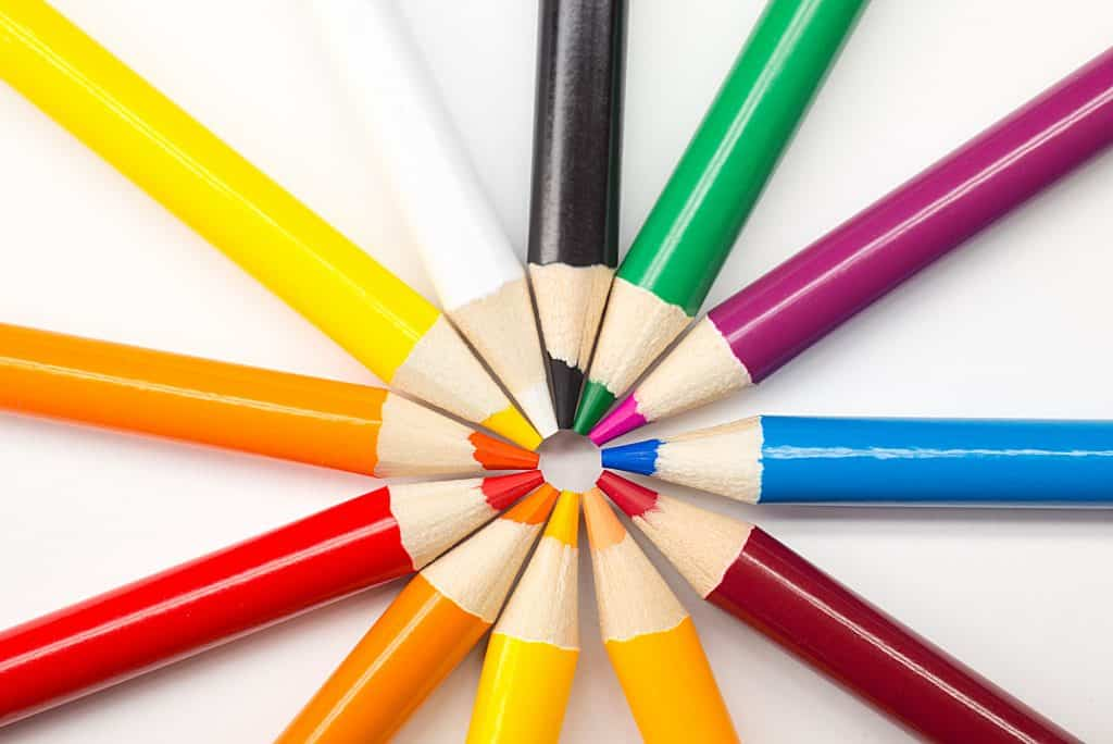 collection of colored pencils replaced by 3d design software